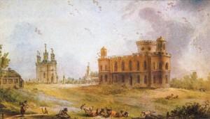 Картина с изображением Чесменских дворца и церкви